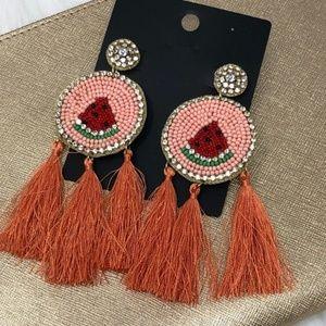 Jewelry - Watermelon Tassel & Rhinestone Statement  Earrings